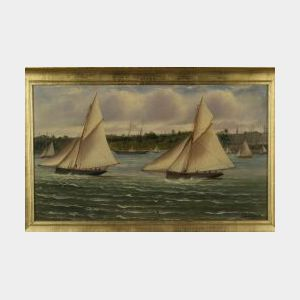 Charles F. Gerrard (Australian, b. 1882)  Coastal View of Yachts Under Sail.