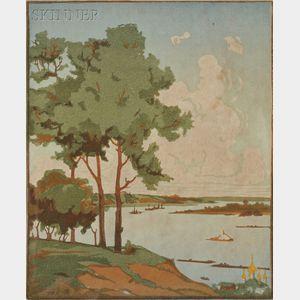 Vadim Dmitrjewitsch Falilejeff (Russian, 1879-1950)      Landscape on the Volga