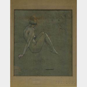Warren B. Davis (American, 1865-1928)      Portrait of a Seated Female Nude.