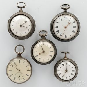 Five Silver London Key-wind Watches