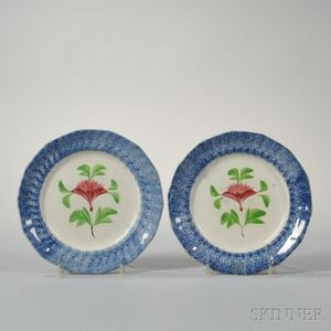 Two Blue Spatterware Plates