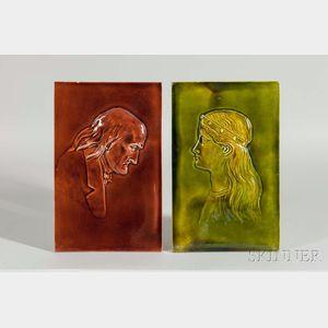 Two Wedgwood Majolica Portrait Tiles