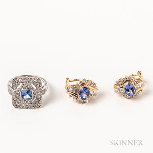 14kt White Gold, Tanzanite, and Diamond Ring and Pair of 14kt Gold, Tanzanite, and Diamond Earrings