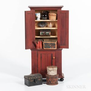 Miniature Grain-painted Step-back Cupboard and Eleven Miniature Items