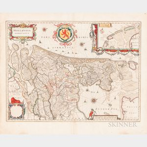 Willem Janszoon Blaeu (Dutch, 1571-1638)      Hollandia Comitatus  : Map of the Netherlands, c. 1640