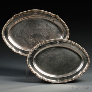 Two George IV Sterling Silver Serving Platters
