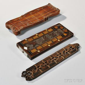 Three Carved Wooden Cribbage Boards