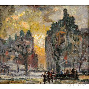 Arthur Clifton Goodwin (American, 1866-1929)      City View at Dusk