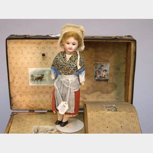 SFBJ Bisque Head Girl and Doll Trunk