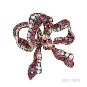 Ruby and Diamond Bow Brooch