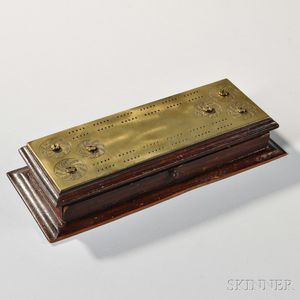 Brass and Wood Cribbage and Bezique Board/Box