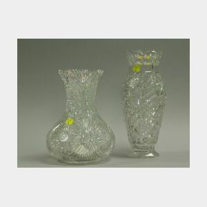Two Colorless Cut Glass Vases.