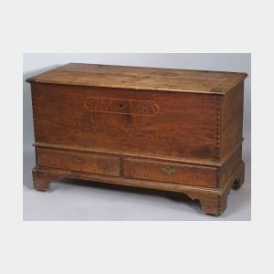 Figured Walnut Inlaid Dower Chest