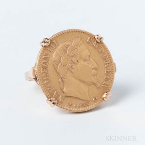 1864 Ten Franc Gold Coin Mounted as a Ring