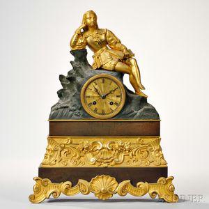 Gilt-brass Figural Mantel Clock