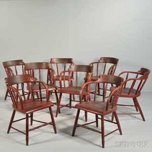 Set of Eight Red-painted and Gilt-decorated Odd Fellows Chairs