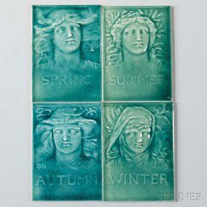 Four J.G. & J.F. Low Seasonal Portrait Tiles