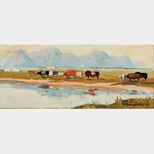 Frank Paul Sauerwein (American, 1871-1910)      Western Landscape with Cows