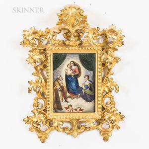 European School, 20th Century      Framed Porcelain Plaque After Raphael Depicting the Sistine Madonna.