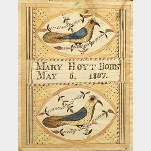 "Moses Connor, Jr. (American, active 1800-1832)  Birth Record of ""Mary Hoyt Born May 6, 1807,"""