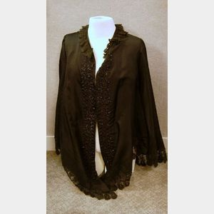 19th Century Black Silk and Lace Beaded Cape.
