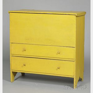 Yellow-painted Pine Chest over Two Drawers