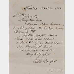 Douglass, Frederick (1818-1895) Letter Signed, 24 October 1866, Rochester, New York. Single sheet, wove paper, inscribed on one side. T