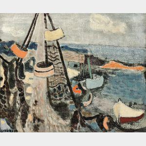Eric Isenburger (German/American, 1902-1994)      The Cove Through The Nets