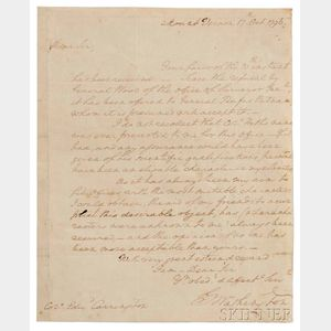 Washington, George (1732-1799) Autograph Letter Signed, Mount Vernon, 17 October 1796.