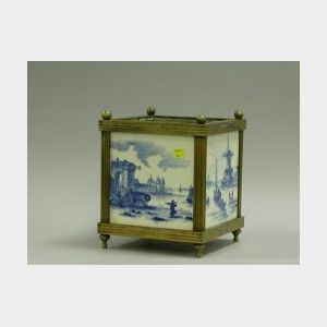 Brass Mounted Delft Tile Planter.