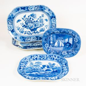 Four Large Blue and White Transfer-decorated Platters