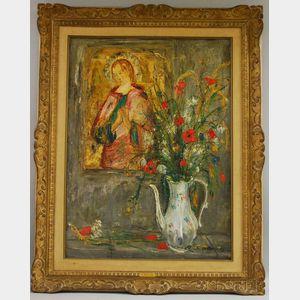 Serge Belloni (Italian, b. 1925)      Floral Still Life with Madonna