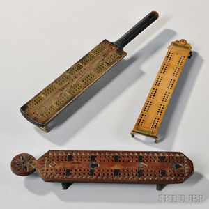 Three Wooden Cribbage Boards