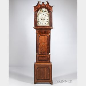 W. Crockford Mahogany and Oak Tall Case Clock