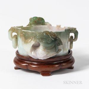 Small Carved Jadeite Bowl
