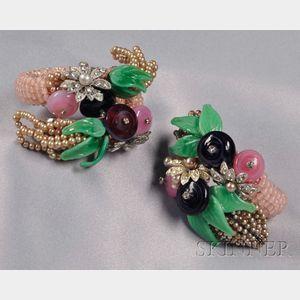 Pair of Vintage Wrap Bracelets, Miriam Haskell