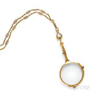 Art Nouveau 14kt Gold Lorgnette and Chain