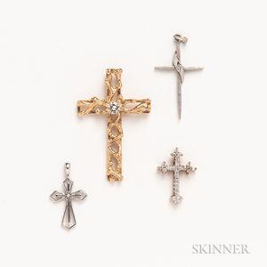 Four Gold Cross Pendants