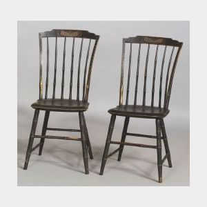 Pair of Paint-decorated Bamboo Windsor Side Chairs