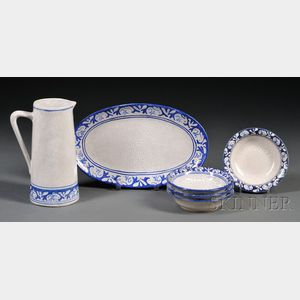 Dedham Rabbit Pitcher, Platter and Four Bowls