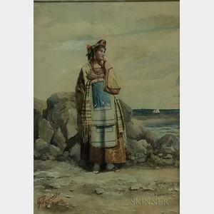 Italian School, 19th/20th Century      Costumed Woman on a Beach
