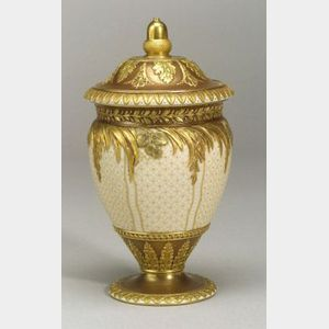 Wedgwood Bronzed and Gilded Creamware Vase and Cover