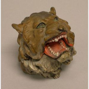 Painted Cast Metal Lions Head Inkwell.