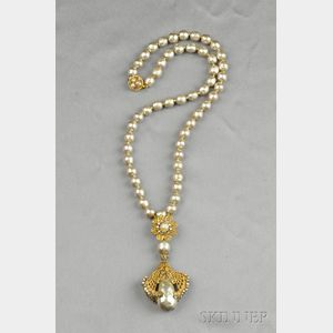 Gilded Metal and Imitation Pearl Necklace, Miriam Haskell