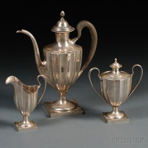"Three-piece Towle ""Paul Revere Reproduction"" Sterling Silver Coffee Service"