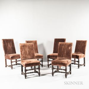 Assembled Set of Six Louis XIV-style Walnut Side Chairs
