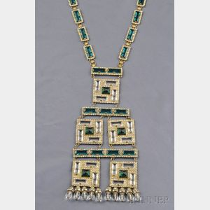 Gilded Metal and Green Glass Sautoir, William de Lillo