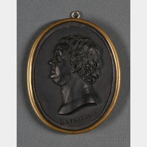 Wedgwood & Bentley Black Basalt Portrait Medallion of Benjamin Franklin