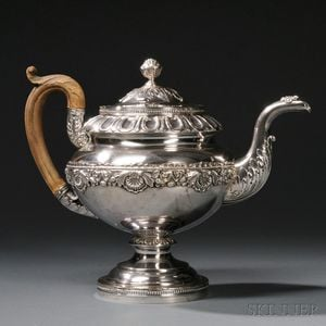 Late Federal Period Coin Silver Teapot
