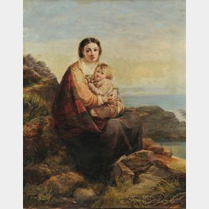 Attributed to Kate Newenham Gray (British, fl. 1880-1920)      Mother and Child at the Water's Edge